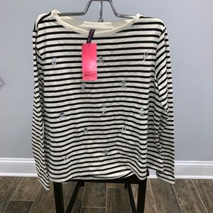 NWT Betsy Johnson Striped Silver Embroidered 1X